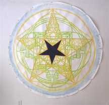3' diameter round, crayon/ water colors on paper